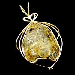 Rutile In Quartz Gold Wire Wrapped Pendant